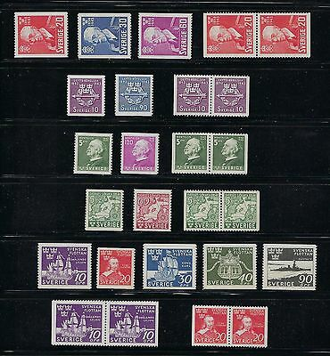 Sweden Years 1943-1944 MNH With Pairs    Scott $89.40