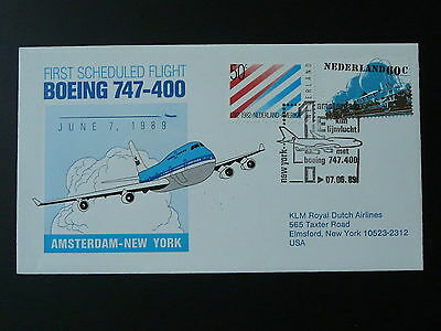 FFC first flight cover flown on KLM Amsterdam New York 7 june 1989 Boeing 747