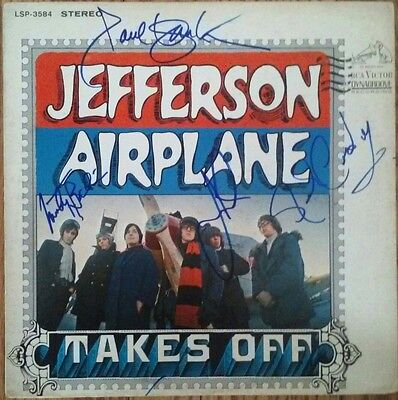 Rare! JEFFERSON AIRPLANE,Autographed LP Record (TAKES OFF) IN-PERSON