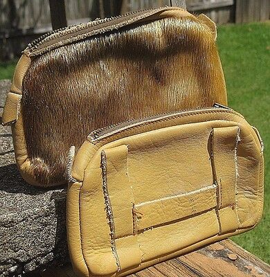 Vintage Handmade Lot of 2 Mountain Man Belt Pouch Bags Genuine Leather & Fur