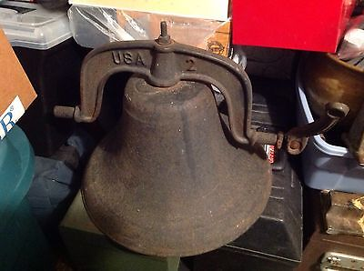 Old Heavy SOLID Cast Iron Rare USA School Bell NO Hanger #2 BNG Signed Antique