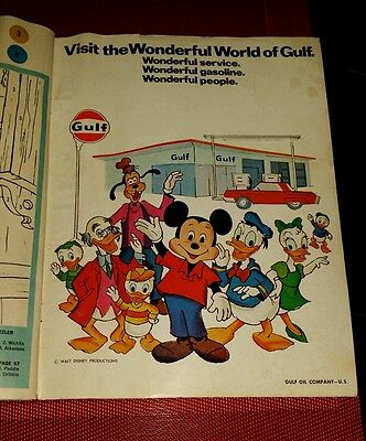 Vintage 1970 GULF Oil Co Advertising Promo Giveaway Wonderful World of DISNEY pb
