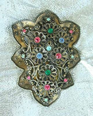 NE Edwardian Multicolored Rhinestone Floral Motif Dress Clip antique
