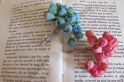 2 BUNCHES ANTIQUE/VINTAGE 30's FABRIC FLOWER BUD WIRE HAT MILLINERY TRIM DOLLS