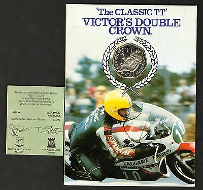 1981 Victor's Double Crown Isle Of Man TT Diamond Finish Large Size 50p In Card