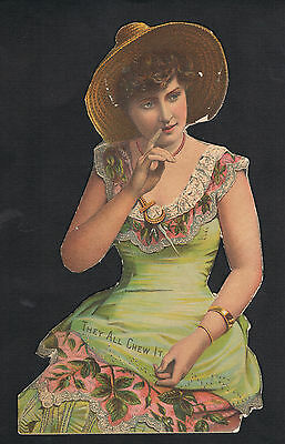 Chewing Tobacco Sign ~ Trimmed ~ Victorian Beauty ~ Musical Clock Premium Offer