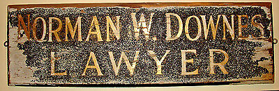 Vintage Vermont ATTORNEY / LAWYER Handmade WOODEN SIGN, SHINGLE, TRADE SIGN