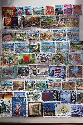 100+Channel Island Stamps - All Different - Off Paper - Used # 1182