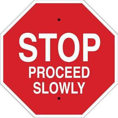 Stop Sign,24 x 24In,White/Red BRADY 124516