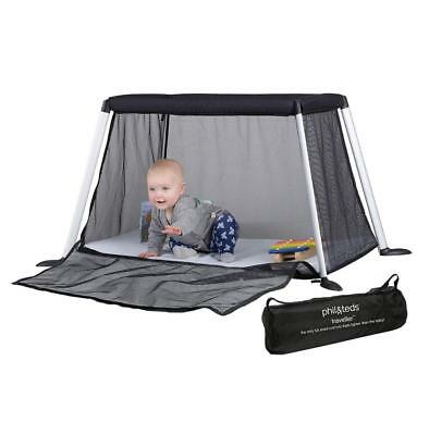 Phil & Teds Traveller v4 (Black) Portable Baby Travel Cot with Mattress