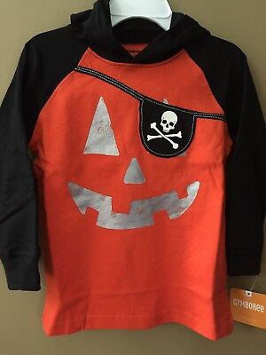 New Gymboree Boys Orange Pumpkin Pirate Halloween Top NWT 18-24m 3T 4T 5T Hooded