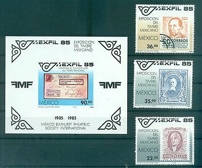 """STAMP ON STAMP MEXICO 1985 """"MEXFIL '85"""" set+block"""