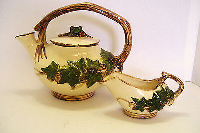 McCoy Pottery Teapot and Creamer 2 Piece Set Green Ivy 1940s Mid Century