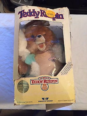 VINTAGE 1986 Worlds of Wonder TEDDY RUXPIN w/ Outfit Original Box Parts COOL