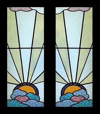 Amazing Rare English Art Deco Sunburst Through Clouds Stained Glass Sidelights