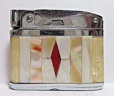 1950's Omega Thin-Line Lighter, Mother Of Pearl Inlays,Working Condition, Japan