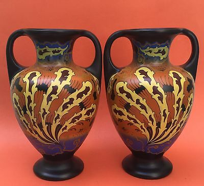 The BEST Pair of mirror image REGINA GOUDA VASES c1925 decor IDO no reserve