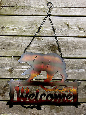 """BEAR METAL WELCOME WALL PLAQUE DECOR  COUNTRY COTTAGE CABIN DECOR  18.5 x25.5"""""""