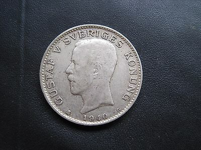 Sveriges 1940 1 Krona .800 Silver Coin King Gustaf V Sweden Swedish