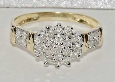 STUNNING 9 CT YELLOW GOLD 0.50ct DIAMOND CLUSTER RING - size N