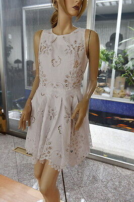 Vintage Cotton Battenberg And Embroidery Zip Back  Dress M White