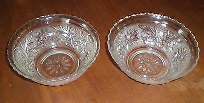 """2 vintage Anchor Hocking Fire King crystal Sandwich 6.5"""" bowls, scalloped top"""