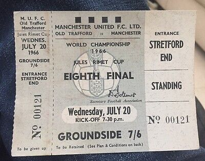 Original 1966 World Cup Unused Ticket At Manchester United Hungary V Bulgaria