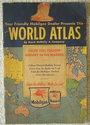 Vintage 1942 Rand McNally World Atlas Book of Maps Mobilgas Dealer Advertising