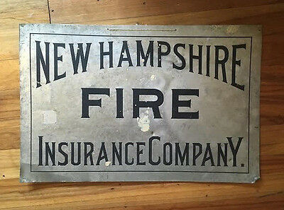 Vintage Antique NEW HAMPSHIRE FIRE INSURANCE COMPANY Metal Tin Advertising Sign