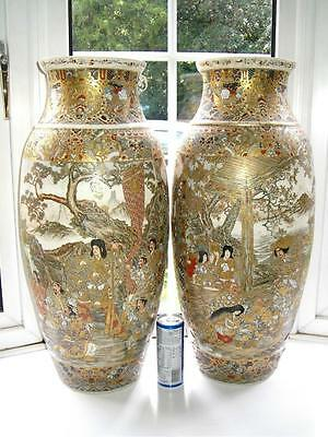 Huge monumental 62cm fine Japanese Satsuma pottery vases Samurai Lords C1880