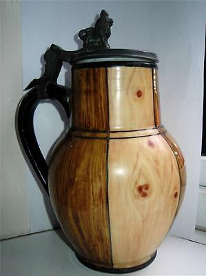 German Sitzendorf Faux wood barrel design porcelain pewter Beer Stein C 1880s