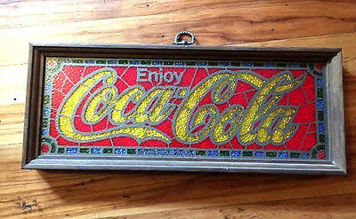 Vintage ENJOY COCA COLA Coke Faux Stained Glass Framed Pub Bar SIGN
