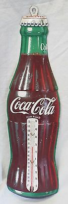 """17"""" Vintage 1958 COCA-COLA BOTTLE Advertising THERMOMETER -WORKS-"""