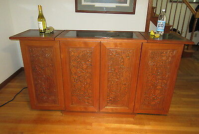 Asian Carved Expandable Bar Liquor Cabinet George Zee Style w/Inlaid Marble Top