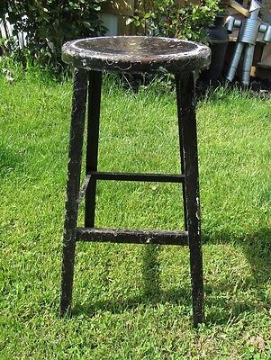 VINTAGE Industrial ANGLE STEEL Metal SHOP STOOL Drafting MACHINE Steampunk