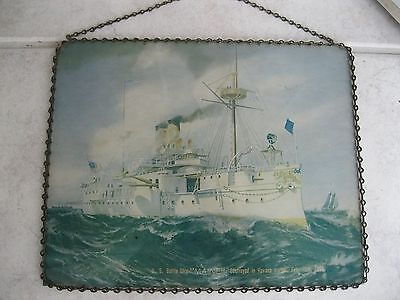 Vintage Us Battleship Maine Picture Spanish American War 1898 Steamer Wheeler