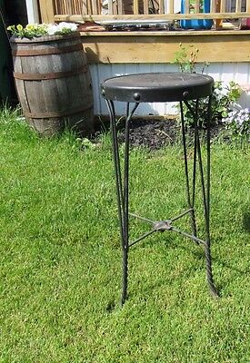 "Antique Stool Twisted Legs Ice Cream Parlor Plant Stand 26"" Primitive Steampunk"