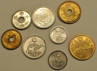 Japan World War II Coinage 8 Coin lot