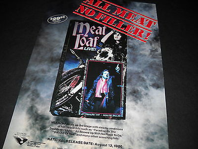 MEAT LOAF All Meat No Filler 1986 INDUSTRY ONLY Promo Display Ad mint condition