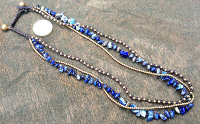 Handmade Hill Tribe Necklace 3-Strand Blue Lapis Lazuri Metal Beads and Bells