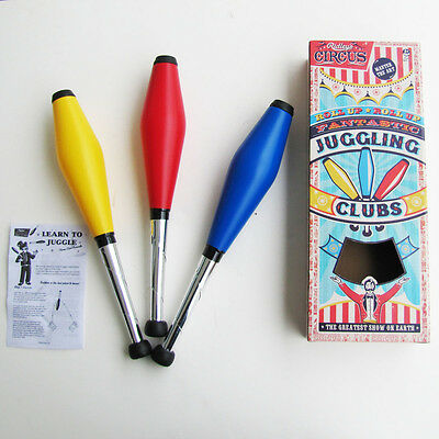 SET OF 3 JUGGLING CLUBS circus clown jester learn to JUGGLE PINS magic show prop