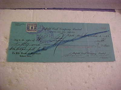 1925 Bank Of Montreal Toefield Coal Company Cancelled Cheque Toefield Alberta