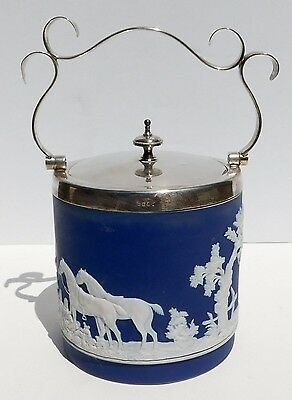 1900 Adams of Tunstall Biscuit Barrel Jar Fox Hunt Hounds Dark Blue Jasper Ware