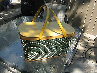 Vintage Green Redmon or Hawkeye Woven and Wood Picnic Basket