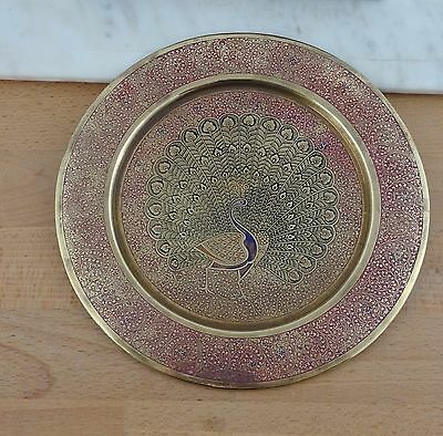 Vintage Brass Enamel Peacock Wall Display Plaque /  Plate /  Tray