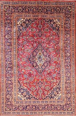 Hand Knotted Traditional Red Room Size 6x9 Mashad Persian Oriental Area Rug Wool