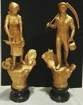 Antique pair of French Gilt patinated spelter figures Farmer & Lady sowing seed