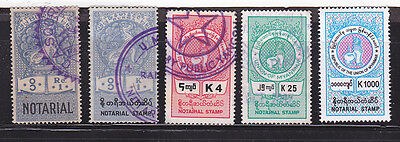 Burma STAMP 1948-PRESENT ISSUED 5 DIFFERENT NOTARIAL ISSUES