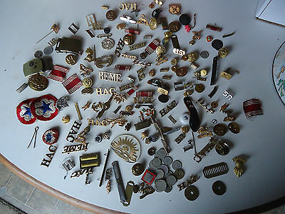 Large lot of assorted military pins buttons buckles badges patch coins WWII +
