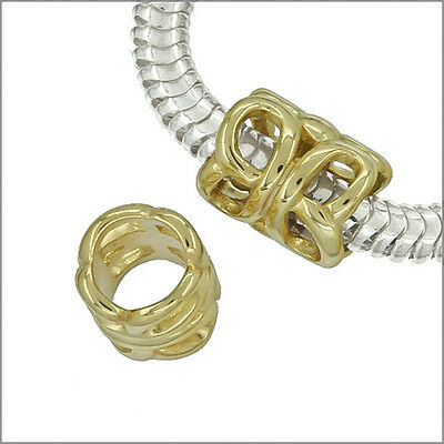 1PC Gold Plated Sterling Silver Filigree Tube Spacer European Charm Bead #97043